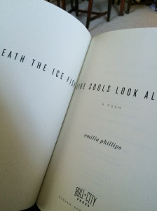 Beneath the Ice Fish Like Souls Look Alike, a chapbook-length poem, by Emilia Phillips, published by Bull City Press, 2015. Photo by Ross White.