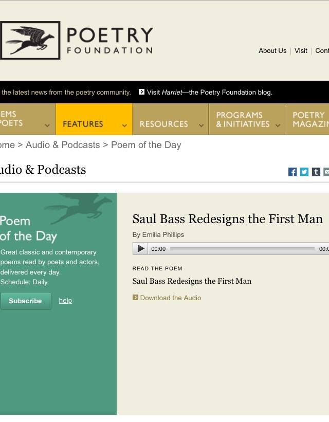 Saul Bass Redesigns the First Man as Poem a Day Podcast 11-16-2015