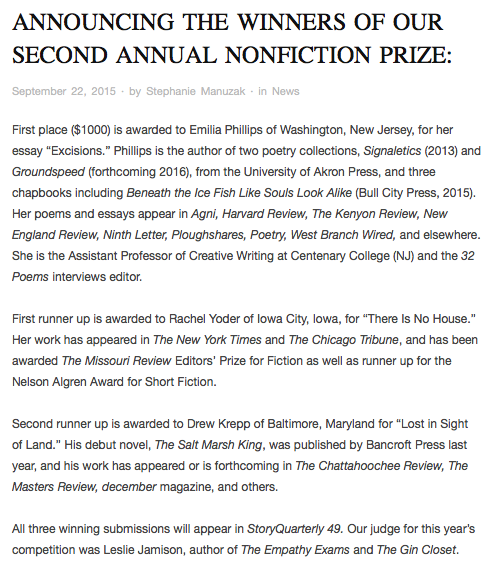 Announcing the Winners of Our Second Annual Nonfiction Prize