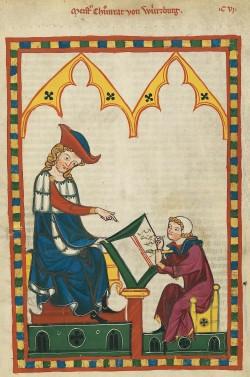 Codex Manesse, fol. 383r, Meister Konrad von Würzburg