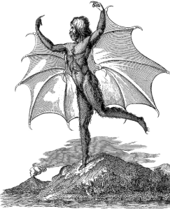 Portrait of a man-bat (Vespertilio-homo), from an edition of the moon series published in Naples. (Courtesy of the New York Public Library.) (1836)