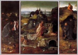 The Hermit Saints Triptych (1490s) by Hieronymus Bosch