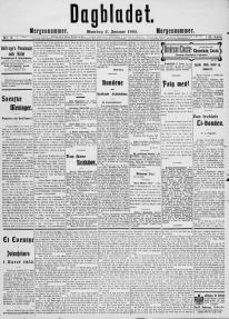 The front page of the Norwegian newspaper Dagbladet from the 2nd of January 1905. (Published before 1923 and public domain in the US.)