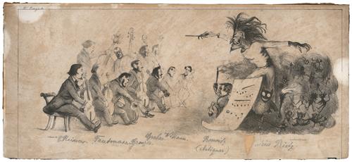 C. Reimers- Das Leipziger Gewandhausorchester im Lichte der Satire, 19 Karikaturen, lithographiert von Blau & Co., Leipzig um 1850