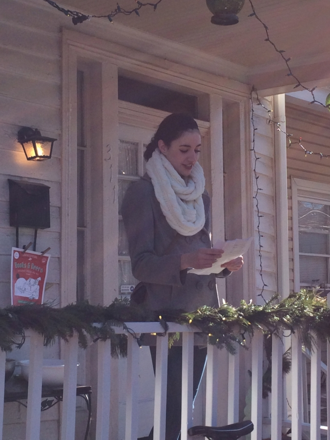 Natalie Esch reading poetry on December 11, 2014 in Richmond, Virginia