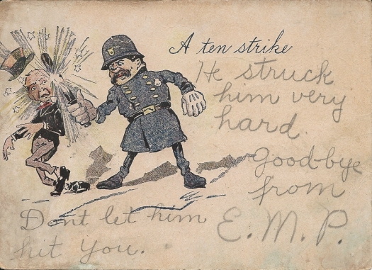 Police with billy club postcard with writing