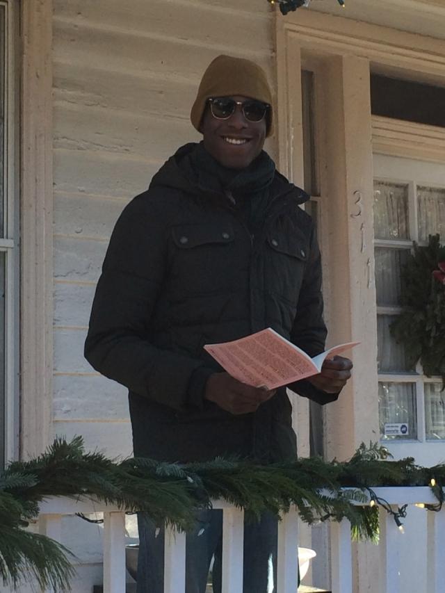 Tchakalla Romeo reading poetry on December 11, 2014 in Richmond, Virginia