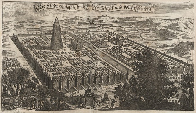 """Abbildung der Stadt Babylon"" (""Picture of the City of Babylon""),  Erasmus Francisci, copper engraving on paper, 1680"