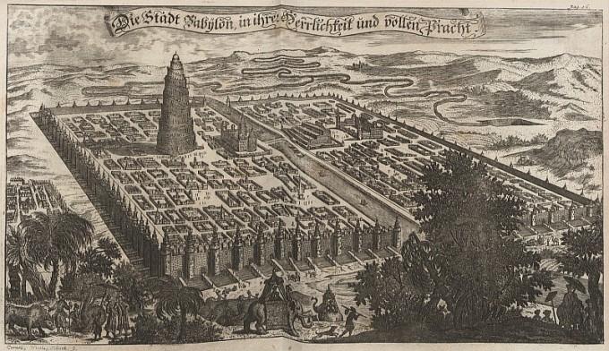 """Abbildung der Stadt Babylon"" (""Picture of the City of Babylon""),  Erasmus Francisci, copper engraving on paper, 1680"