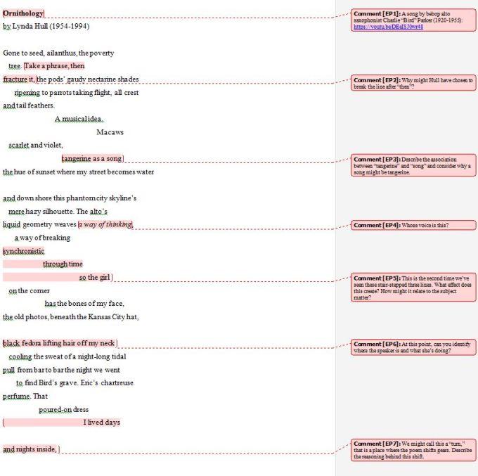 Ornithology Poetry Analysis Exercise screenshot - 1