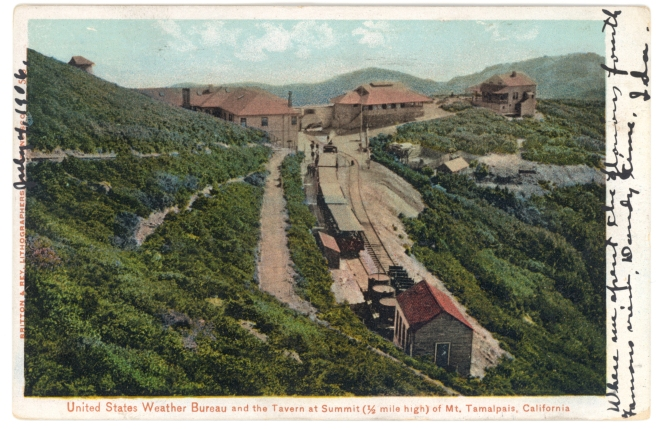 Postcard of the United States Weather Bureau buildings and tavern at the summit of Mt. Tamalpais, Marin County, California, circa 1906. (Source: NOAA Photo Library)