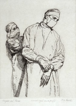 A nurse and a surgeon, both wearing gown and mask. Etching by H.A. Freeth.  (This file comes from Wellcome Images, a website operated by Wellcome Trust, a global charitable foundation based in the United Kingdom.)